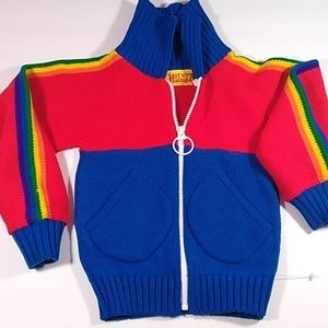 Vintage kids rainbow zip sweater size 4